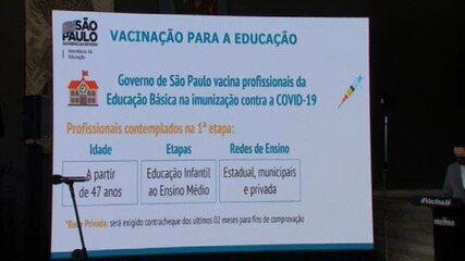 Veja datas de vacinação para professores e profissionais da educação em SP