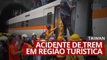 VÍDEO: Trem descarrila em região turística de Taiwan e deixa mortos