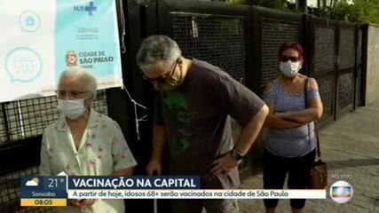 Cidade de SP começa vacinação contra Covid-19 de idosos de 68 anos nesta sexta