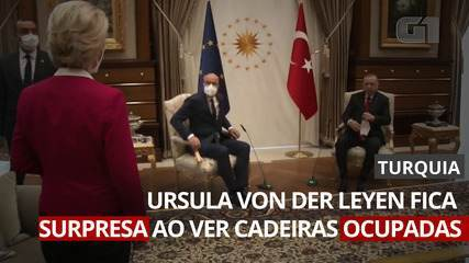 Presidente da Comissão Europeia fica surpresa quando colega e Erdogan ocupam cadeiras