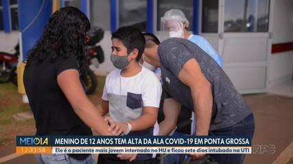 Menino de 12 anos recebe alta do hospital de Ponta Grossa depois de ficar 13 dias internado
