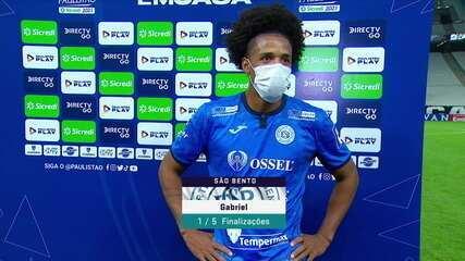 Gabriel, do São Bento, homenageia o pai, após gol contra o Corinthians