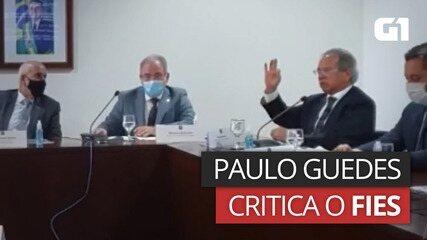 Paulo Guedes critica o Fies e diz que filho de porteiro 'tirou zero na prova' e conseguiu financiamento