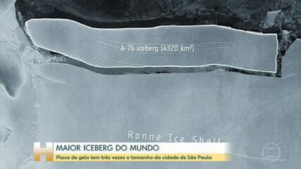 Placa de gelo se desprende de plataforma na Antártica e se torna maior iceberg do mundo