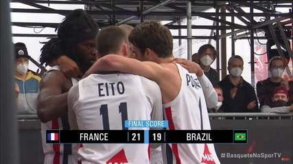 Os pontos finais de França 21 x 19 Brasil pelo Pré-Olímpico de basquete 3x3