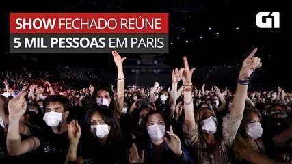 VÍDEO: Paris tem show de rock fechado, com aglomeração e máscaras
