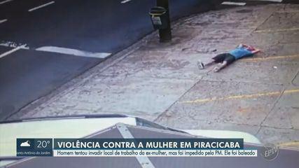 Homem armado tenta invadir local de trabalho da ex-mulher e é baleado por PM em Piracicaba