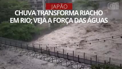 VÍDEO: Chuva transforma riacho em rio no Japão; veja a força das águas