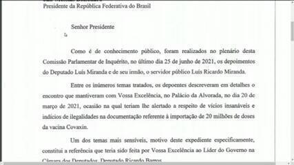 VÍDEO: Veja carta enviada pela CPI pedindo esclarecimentos de Bolsonaro sobre caso Covaxin