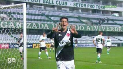 Aos 8 min do 2º tempo - gol de dentro da área de Cano do Vasco contra o Coritiba