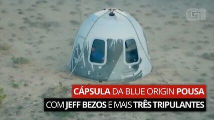 Cápsula da Blue Origin pousa com Jeff Bezos e mais três tripulantes