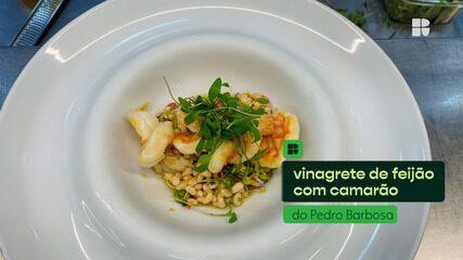 Pedro Barbosa ensina a fazer Vinagrete de feijão com pimenta-de-cheiro e camarão