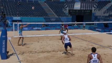 Melhores Momentos: Brasil 2 X 0 Argentina pelo vôlei de praia masculino