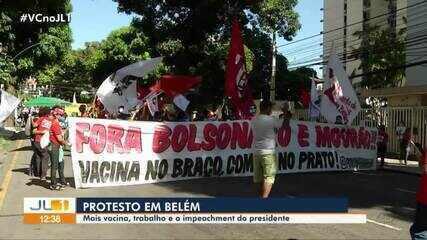 Manifestação contra presidente Bolsonaro percorre ruas de Belém