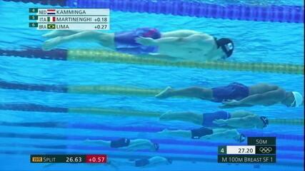 Felipe Lima fica em sexto na semifinal dos 100m peito masculino na natação