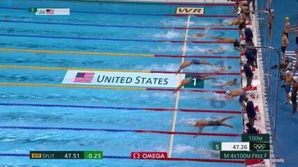 Estados Unidos leva o ouro nos 4 x 100m livre masculino na natação