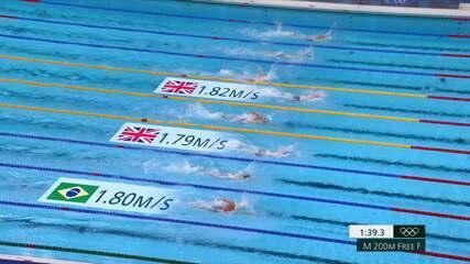 Fernando Scheffer leva o bronze nos 200m livre masculino na natação dos Jogos de Tóquio