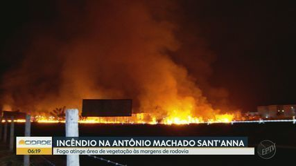 Incêndio destrói área de vegetação no Anel Viário Sul em Ribeirão Preto