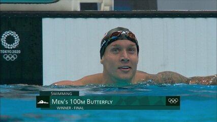Caeleb Dressel (EUA) leva o ouro e bate o recorde mundial nos 100m borboleta masculino