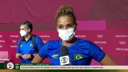 Alê agradece o apoio dos amantes de handebol e diz estar feliz de ter participado até aqui - Olimpíadas de Tóquio