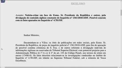 TSE apresenta ao STF notícia-crime contra Bolsonaro por divulgação de dados sigilosos