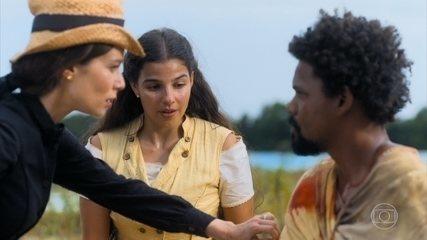 Luísa impede seu jagunço de atirar em Pilar e Jorge