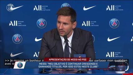 """Messi fala sobre jogar com Neymar e Mbappé: """"Felicidade gigantesca"""""""