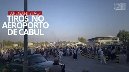 Video: A gunshot is heard during a commotion at Kabul airport