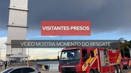 Vídeo mostra resgate de visitantes presos em elevador do Mirante