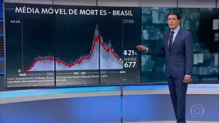 Brasil registra a menor média diária de mortes do ano, pelo segundo dia seguido