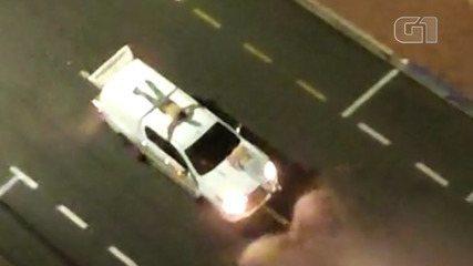 Reféns são colocados em cima de carros durante ataque a bancos em Araçatuba, SP
