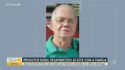 Produtor rural reencontra a família após ter sido levado por homens armados na Bahia