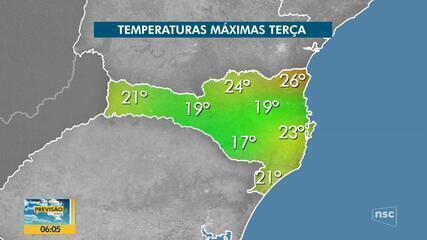 Confira a previsão do tempo para esta terça-feira (14) em SC