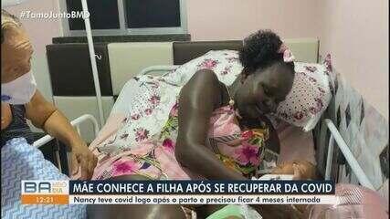 Mãe conhece filha de cinco meses após se recuperar da Covid-19