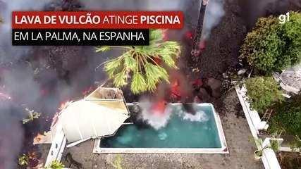 Drone flagra momento em que lava de vulcão atinge piscina em La Palma, na Espanha