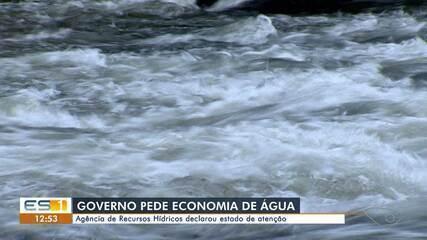Agência de Recursos Hídricos declarou estado de atenção sobre situação hídrica no ES
