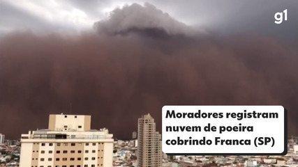 Moradores registram nuvem de poeira cobrindo Franca, SP, neste domingo (26)