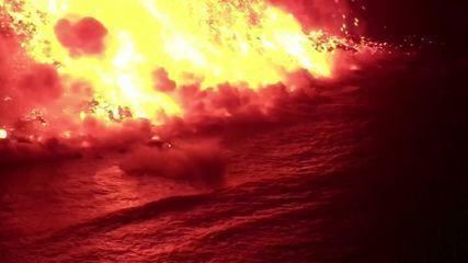 Novas imagens mostram detalhes da queda da lava no mar nas Canárias
