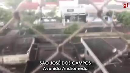 Moradores registram chuva de granizo na região; árvore cai em avenida de São José
