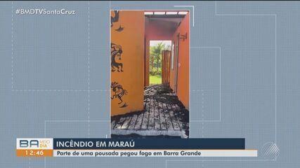 Incêndio em pousada é registrado no município de Maraú, interior da Bahia