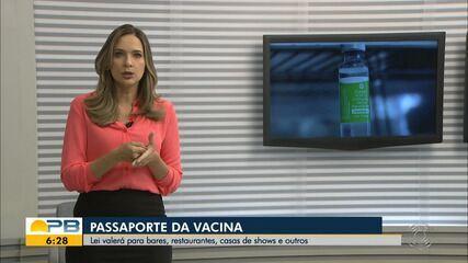 Lei que institui passaporte da vacina na PB para entrada em estabelecimentos é sancionada