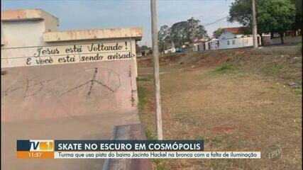 Skatistas do bairro Jacinto Hackel cobram iluminação da pista em Cosmópolis
