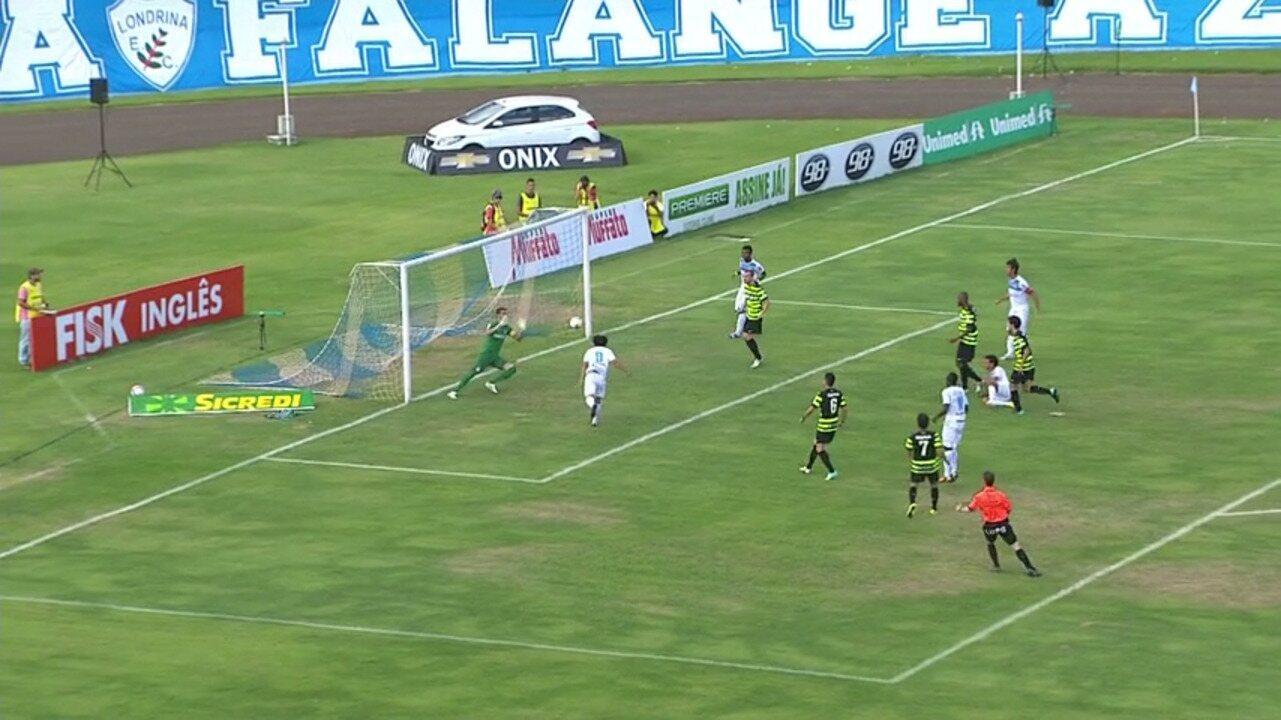 Veja os gols de Londrina 2 x 0 Coritiba pela 11ª rodada do Paranaense