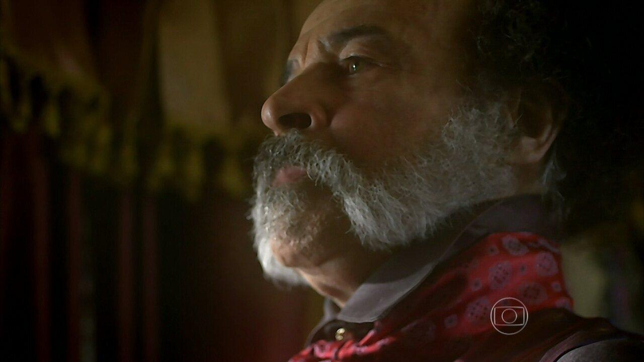 Meu Pedacinho de Chão - capítulo de terça-feira, dia 15/04/2014, na íntegra - Epa descobre que Ferdinando vai trabalhar com Pedro Falcão