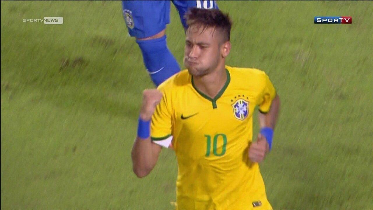 De falta, Neymar acerta no ângulo e faz o gol da vitória no amistoso contra Colômbia