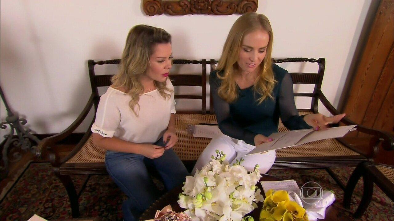Angélica ajuda Fernanda Souza com detalhes do casório