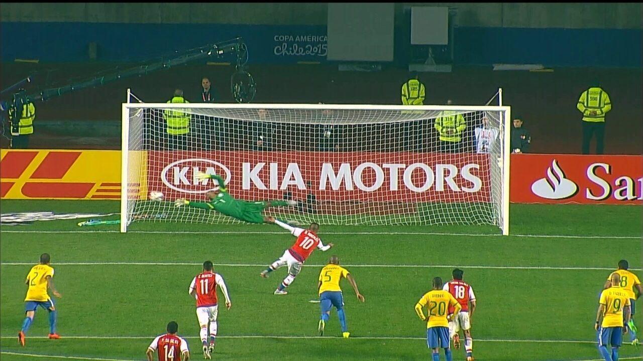 Os gols de Brasil 1 (3) x (4) 1 Paraguai pelas quartas de final da Copa América 2015