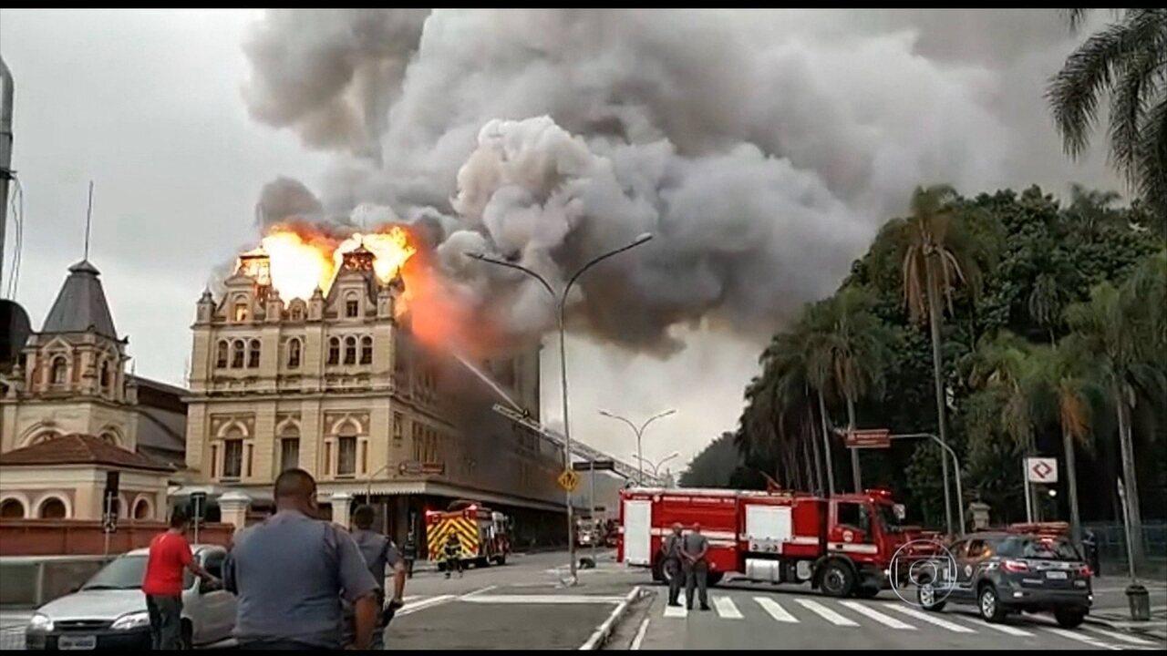 Incêndio destrói prédio histórico do Museu da Língua Portuguesa em São Paulo