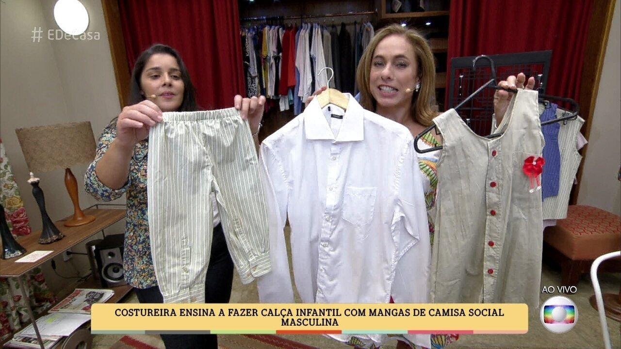 Costureira ensina a fazer calça infantil com mangas de camisa social
