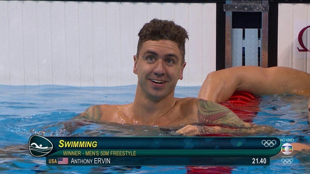Anthony Ervin é ouro nos 50m livre, Bruno Fratus é sexto